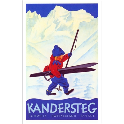 Kandersteg Ski Poster - Child with Skis