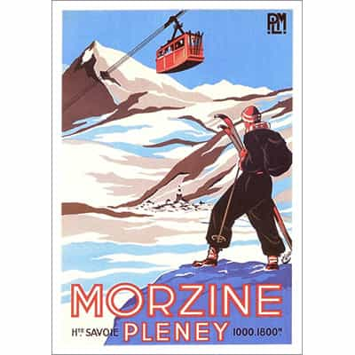Morzine Pleney with Gondola Ski Poster