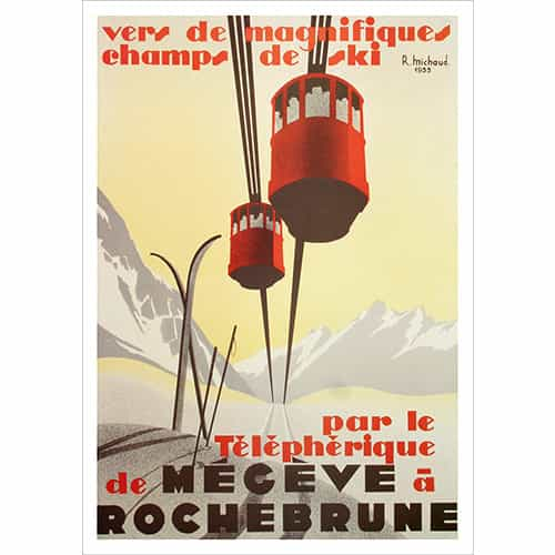 Rochebrune, Megeve in the French Alps Vintage Ski Poster