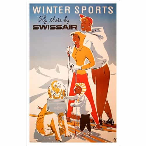 Swissair Winter Sports Ski Poster