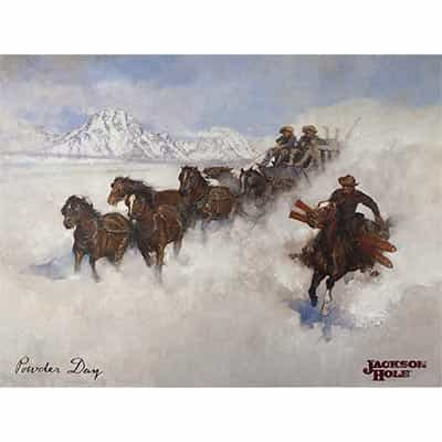 Jackson Powder Day With Stagecoach Poster