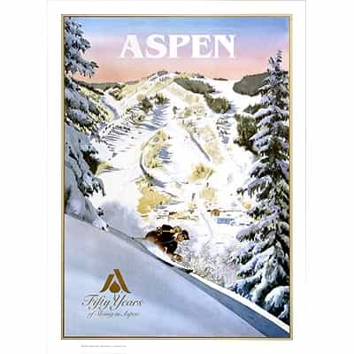 Ski Poster of Aspens 50th Winterskol Anniversary, Signed By Linda Roberts