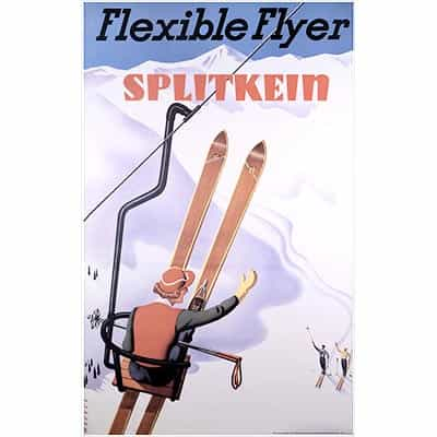 Flexible Flyer Splitkein Ski Poster