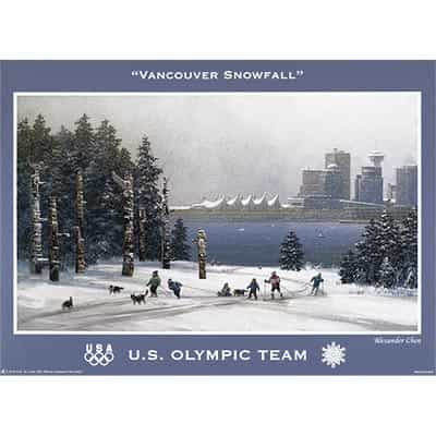 2010 U.S. Olympic Team Vancouver Snowfall Poster