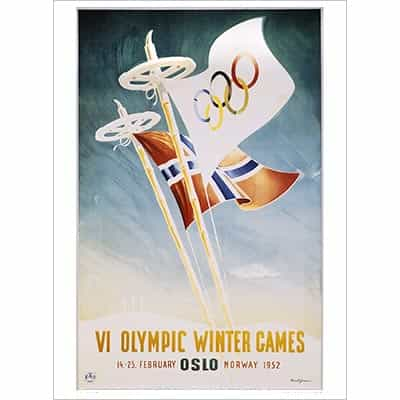 1952 Oslo Winter Olympics Poster