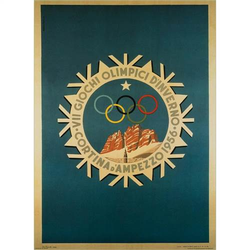 1956 Cortina Winter Olympics Poster