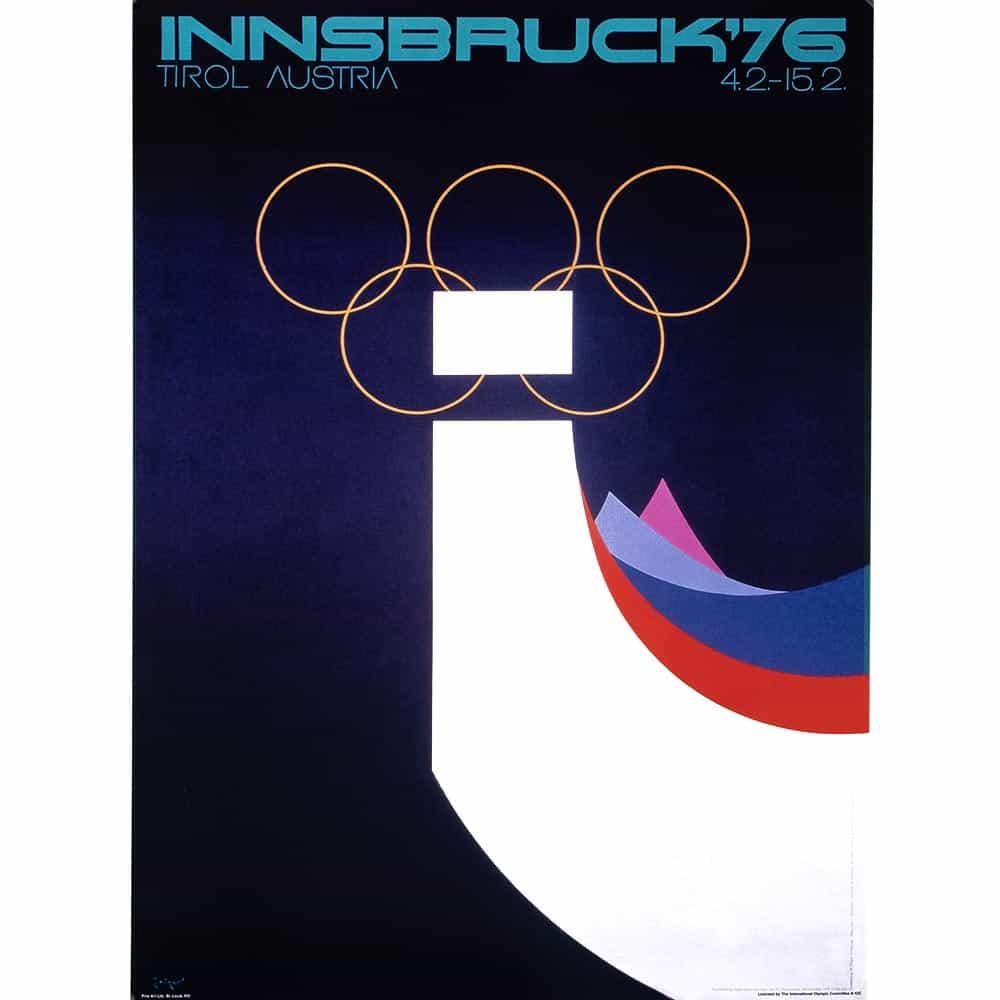1976 Innsbruck Winter Olympics Ski Poster