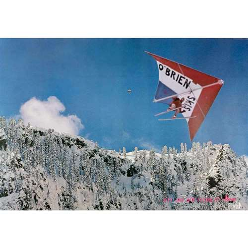 Jeff Jobe Kite Flying at Alpental Vintage 1970 Ski Poster, 21 x 30 inches