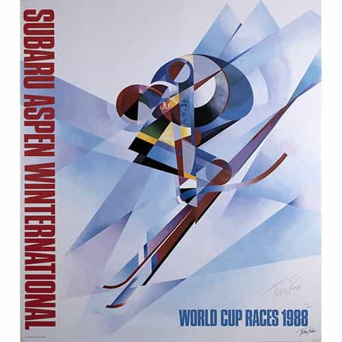 Aspen World Cup Race Original Ski Poster 1988 Signed by Artist Terry Rose
