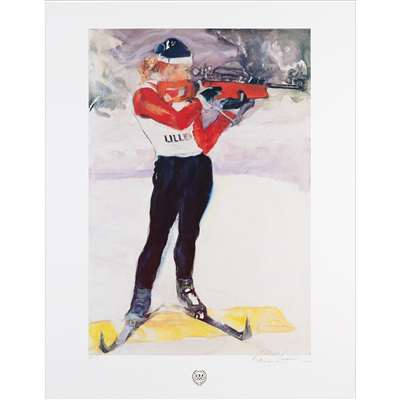 'Biathlon' by Dian Friedman Original Signed Artist Proof Lithograph, 22 x 28 inches