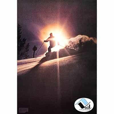1960 Vail Last Run Original Vintage Ski Poster with the Sun Setting in the Background.