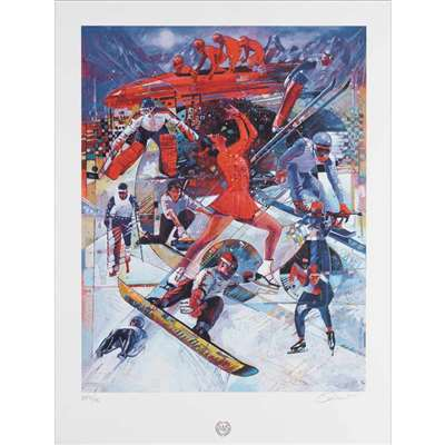 'Winter Games' by Charly Palmer Numbered & Signed Poster, 16 x 22 inches