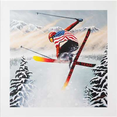 'US Olympic Ski Team' by Susan Sommer-Luarca Numbered & Signed Giclee on Canvas, 20 x 20 inches