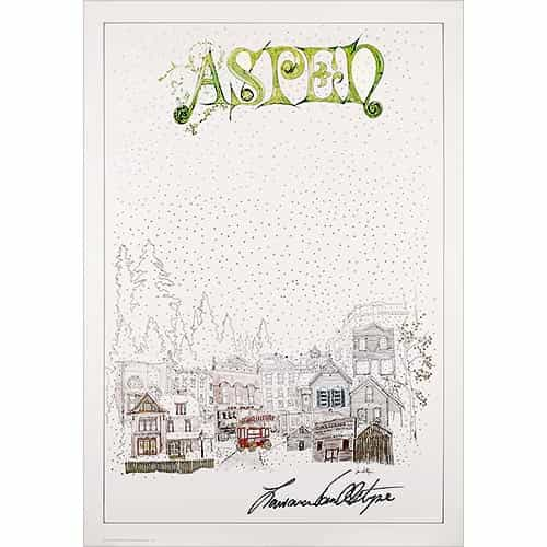 This 1977 Aspen Poster is actually white, but the shadow of the photo makes it look gray.  Signed by Larry Van Alstyne