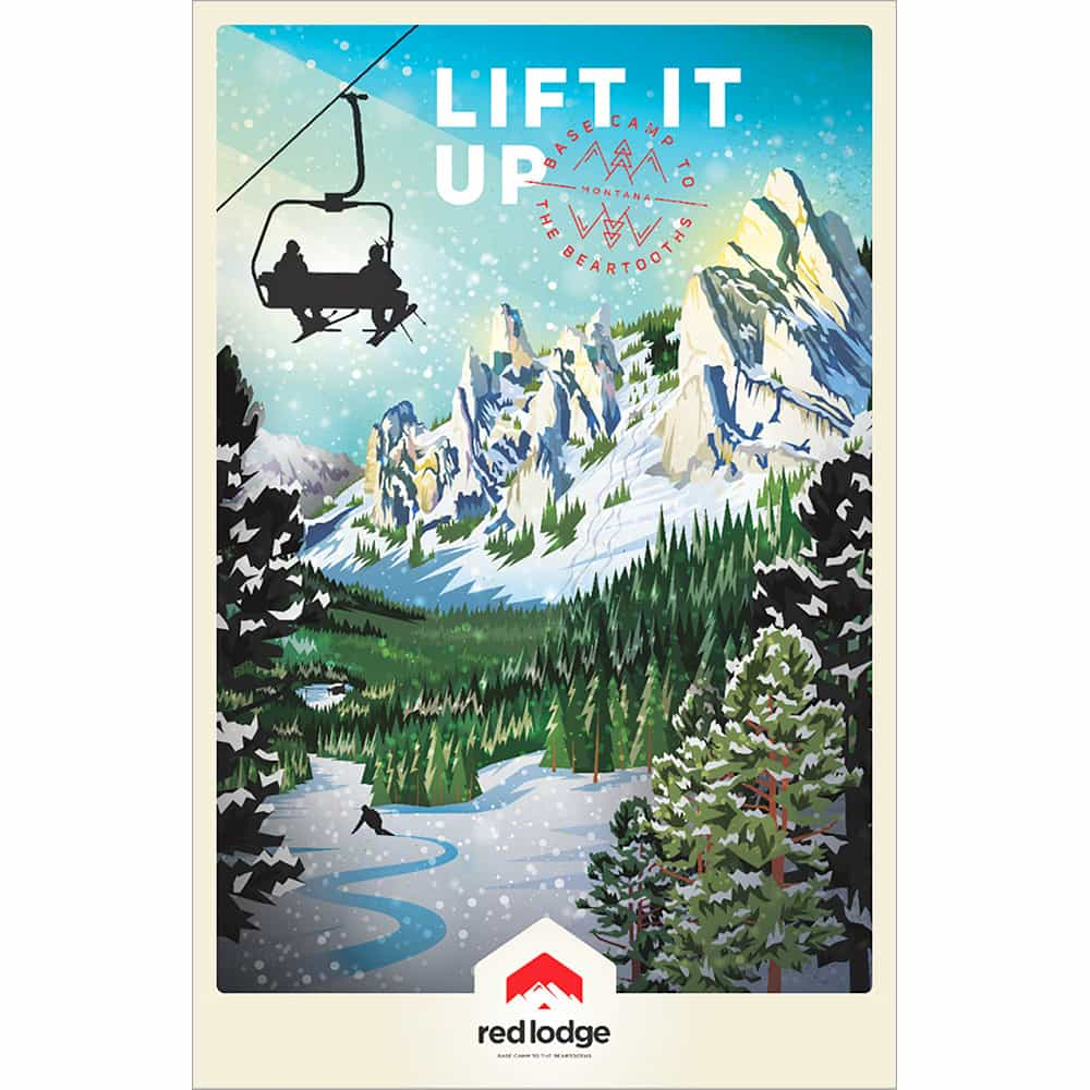Red Lodge Mountain Lift It Up Ski Poster