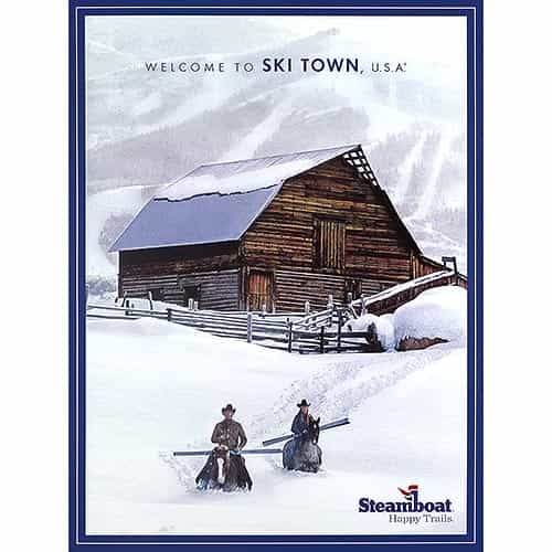 Classic Image of Steamboat Barn Happy Trails Ski Poster, Size 18 x 24 inches.