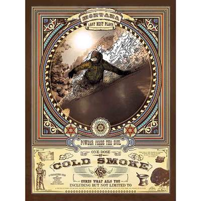 Bridger Bowl Cold Smoke Snowboard Poster, 18 x 24 inches