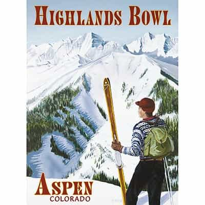 Aspen Highlands Bowl Ski Poster by Travis Anderson