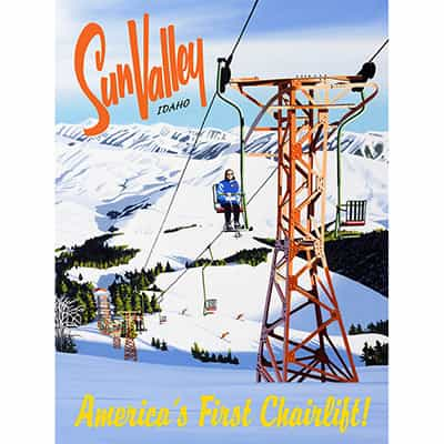 Sun Valley Americas First Chairlift Ski Poster