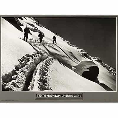 10th Mountain Division Skinning Up Mount of the Holy Cross Ski Poster 16 x 22 inches