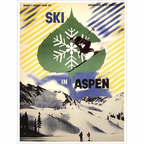 Ski In Aspen Poster, Size 22 x 28 inches