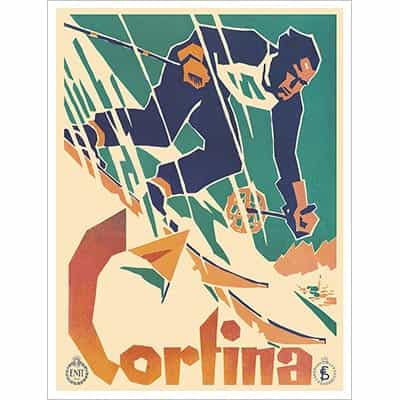 Cortina Vintage Art Deco Ski Lodge Poster