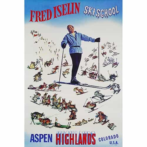 Aspen Highlands Fred Iselin Ski Poster