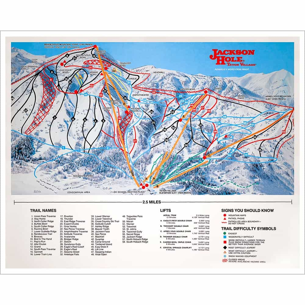 Ski Areas In Wyoming Map.Jackson Hole Wy Ski Area Map Vintage Poster