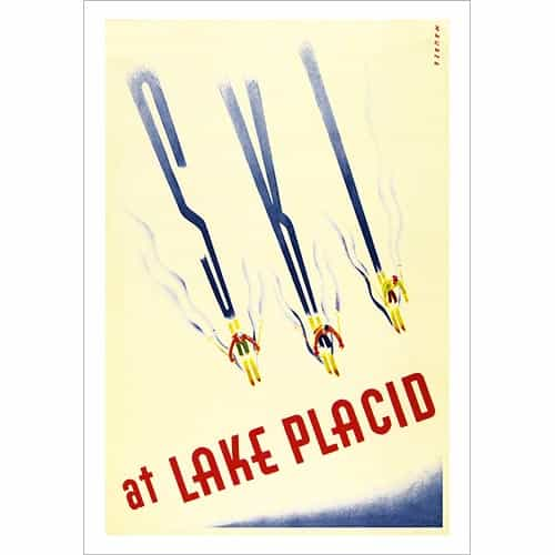 Lake Placid 1940s Ski Poster
