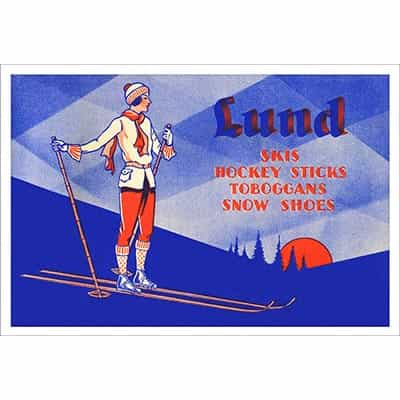 Lund Skis Vintage Advertisement with Woman Skier Poster