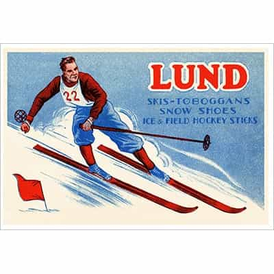 Lund Skis Vintage Advertisement with Male Ski Racer Poster