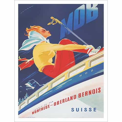 Montreux - Oberland Bernois Railway Vintage Swiss Ski Poster