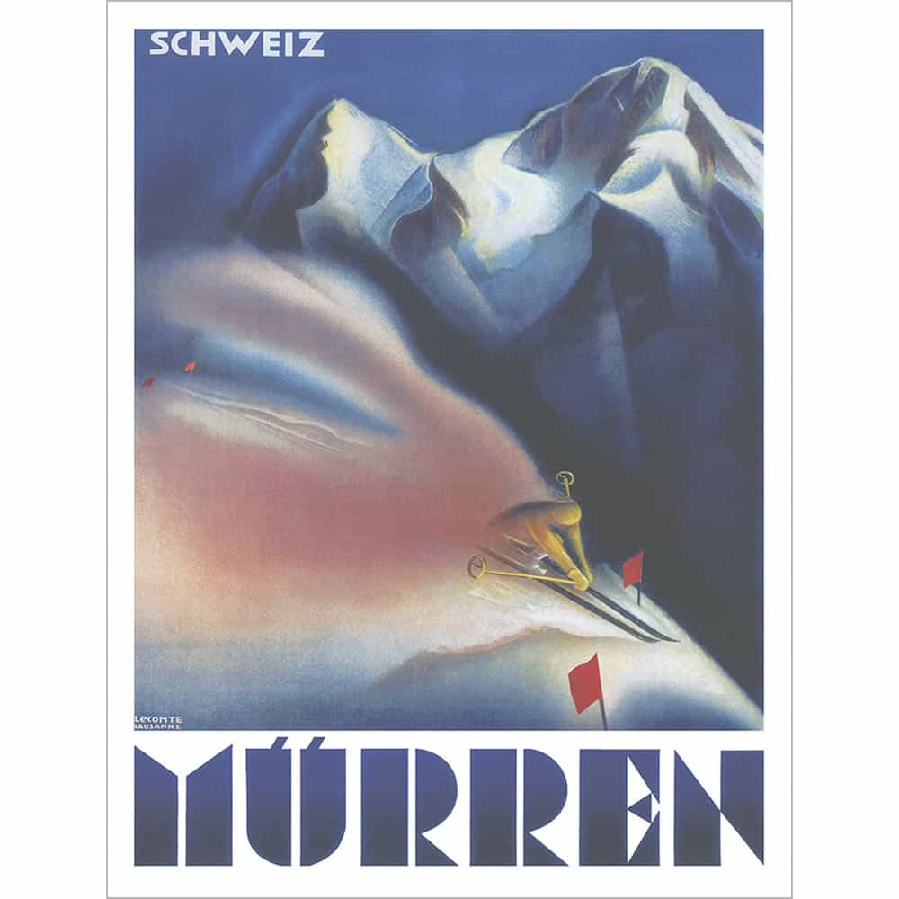 murren switzerland vintage ski poster available in three sizes 20