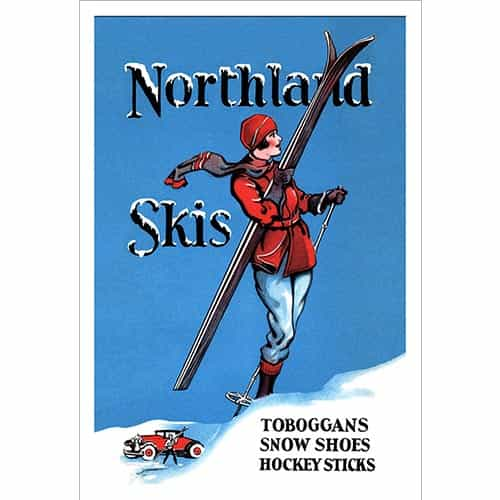 Northland Skis Vintage Ad with Woman Ski Poster