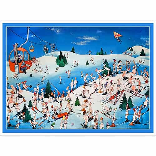 Nude Resort Funny Vintage Ski Poster 2 Sizes: 18 x 24 & 22 x 28 inches.