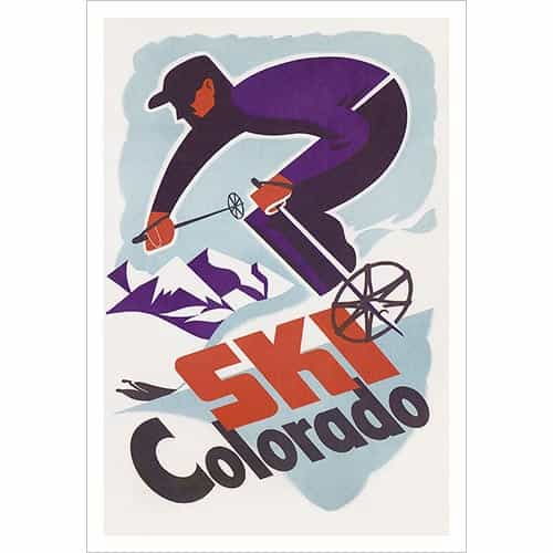 Ski Colorado Vintage Art Deco Ski Poster, Size 20 x 30 inches