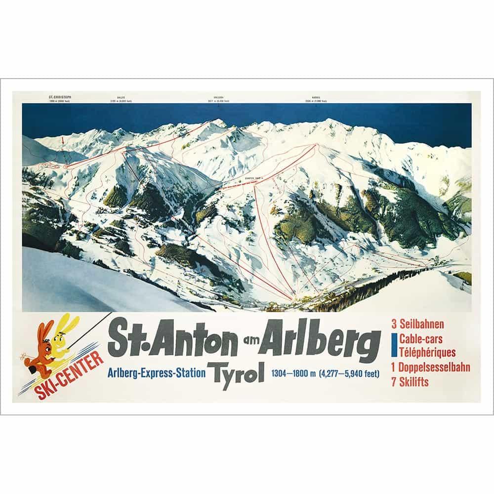 St Antons Arlberg Ski Area Map Vintage Austrian Ski Poster - Vintage ski maps