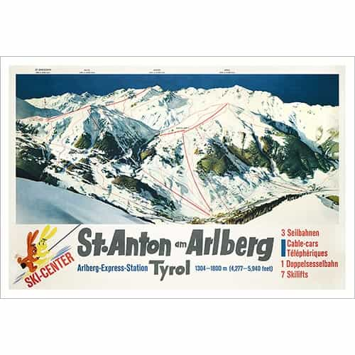 St. Anton's Ski Area Map from Years Ago