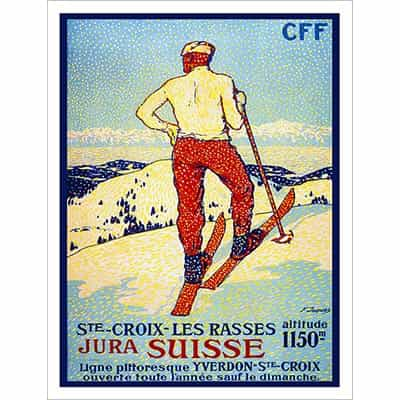 St. Croix Vintage Swiss Art Deco Ski Poster 20 x 30 inches