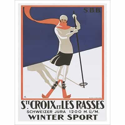 St. Croix Girl Vintage Swiss Art Deco Ski Poster 20 x 30 inches