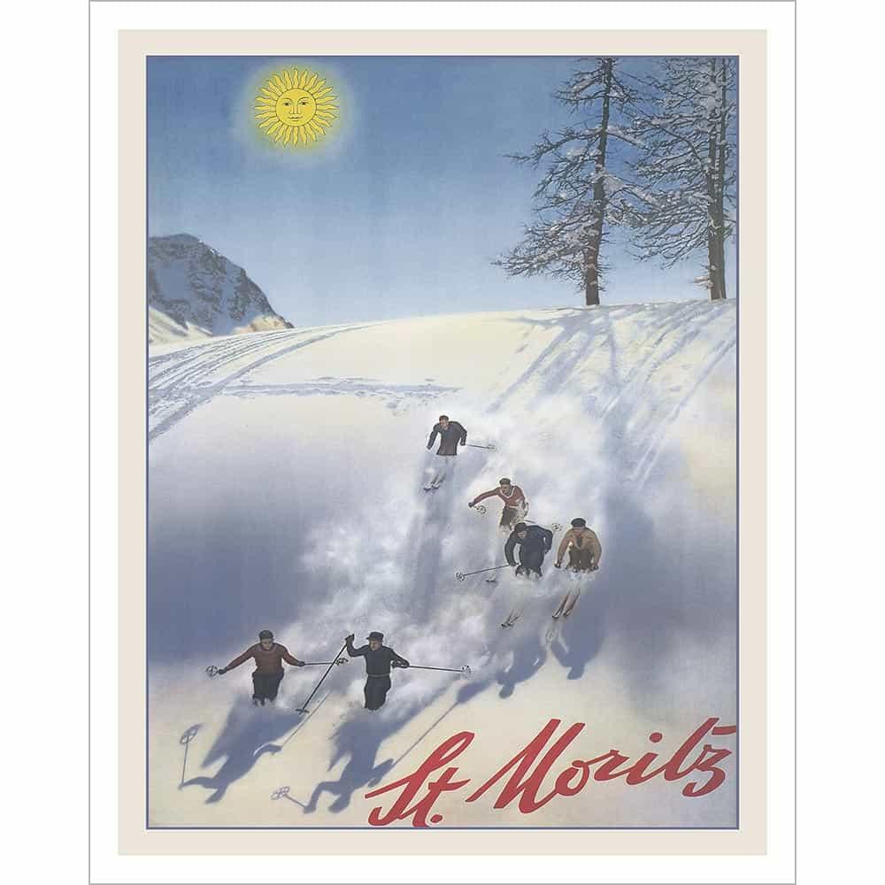 Swiss Vintage Ski Posters ST 1911 Travel Print MORITZ VII GROSSES SKI RENNEN