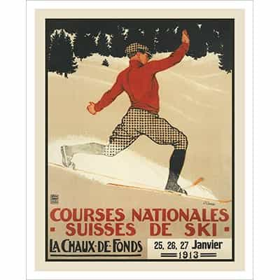 Tele Turn Swiss Art Deco Ski Poster 22 x 28 inches