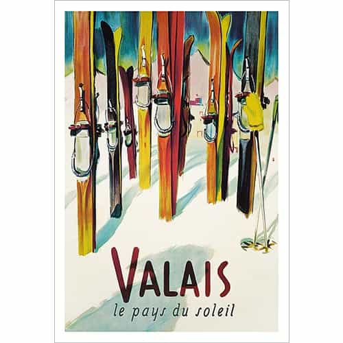 Valais Poster of Vintage Skis