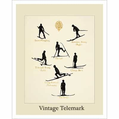 Vintage Telemark Ski Poster showing early form of the Telemark turn.