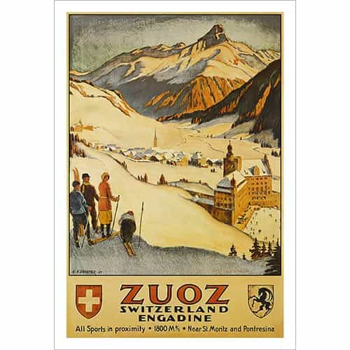 Zuoz Switzerland Ski Poster