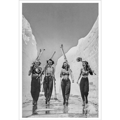 Vintage Photo of the Girls Gone Skiing 1940s Ski Photo (Black & White or Sepia, 2 Sizes: 8 x 10 and 11 x 14 inches)