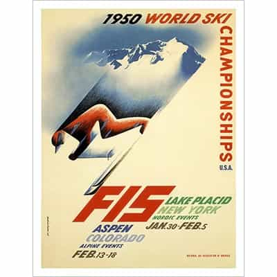 1950 FIS World Championships Vintage Ski Photo
