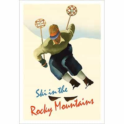 Ski In The Rocky Mountains Vintage Photo