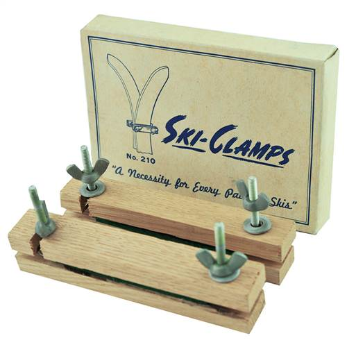 1940's Wood Ski Clamps Set New In the Box for summer storage of your wood skis.