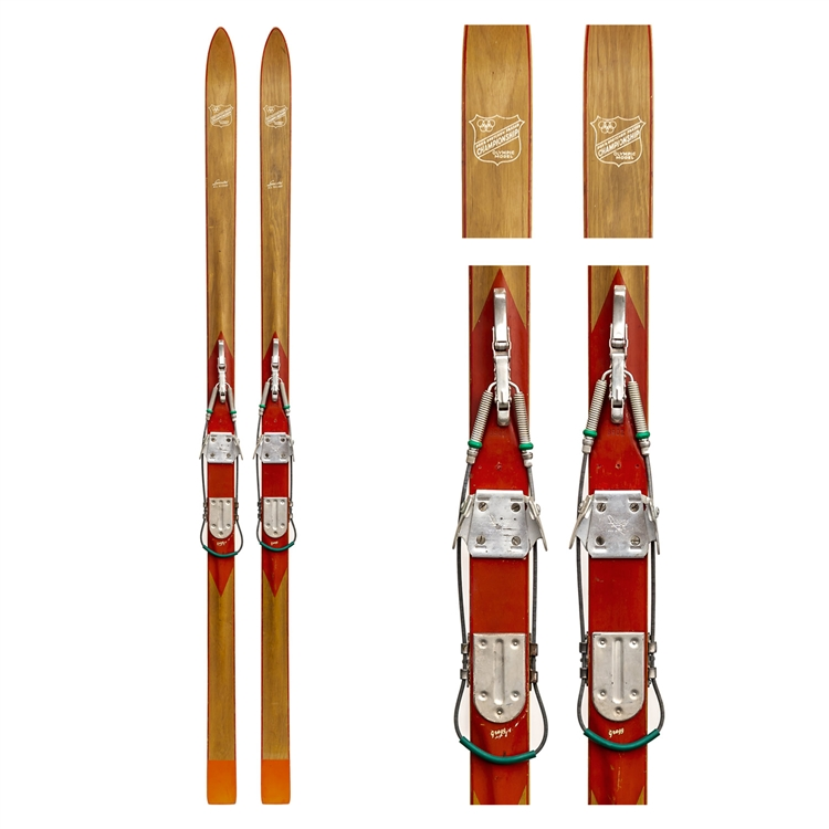 1940's Gregg Standard Ridgetop Vintage Skis with Bear Trap and Leather Bindings